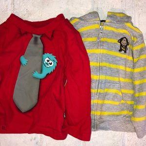 Lot of 2 Baby Boy Long Sleeve Shirt / One Hoodie